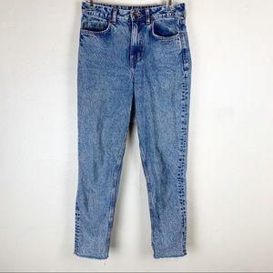 Acid wash high waisted mom jeans